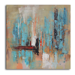 Pedestrian in rain Hand Painted Canvas Art - The rainy day, re-envisioned as anything but dreary, makes a striking statement in your decor. This acrylic on canvas artwork looks all the more modern and of-the-moment sans frame.