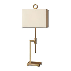 Uttermost - Feldon Coffee Bronze Accent Lamp - Brushed coffee bronze plated metal. The rectangle hardback shade is a tan linen fabric.