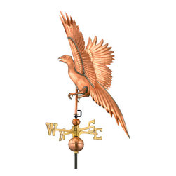 Good Directions, Inc. - Good Directions Pheasant Weathervane - Polished Copper - Wily in the wild, the vibrantly colored pheasant is much sought after by game hunters. This beautiful bird spreads out its wings over the rooftop of your house, barn, garage, or cupola. Our Good Directions artisans use Old World techniques to handcraft this fully functional, standard-size weathervane that's unsurpassed in style, quality and durability. A great gift for hunting enthusiasts!