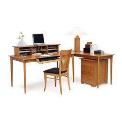 Sarah Home Office Organizer By Copeland - The Sarah desk,featuring a drawer style keyboard tray,can be extended with a left or right side return. A separate desktop organizer adds storage space. File storage is offered with a rolling cabinet equipped with anti tip locks. All pieces are available in solid cherry hardwood with four finishes Natural,Windsor,Autumn and Cognac or solid maple hardwood with five finishes Natural,Cocoa,Dark Chocolate,Slate and White with a variety of knob options.