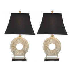 Safavieh - Pippin Table Lamp, Set of 2 - Asian influences abound in the Pippin Circle Lamp, with its softened pagoda-shaped shade of black and a matte finish silver-plated textured body resting like sculpture on a footed museum stand.