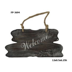 Cheung's - Wooden Welcome Plaque with Hanging Rope - Material: Wood and Rope. Color: Brown and White. Hanging Rope.  Welcome Painted on Wood in White. 12 in. L x 0.5 in. W x 6.25 in. H (0.4 lbs)