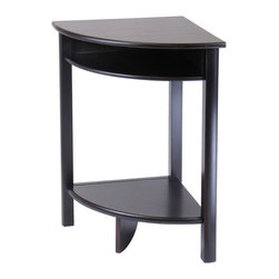 Winsome - Liso Corner Table, Cube Storage and Shelf - Solid wood corner desk with Espresso finish from our coordinated Liso line of home office furniture is 20.5 x20.5 x 31.1H. The desk has 2 open shelves for storage; matches in height with the printer stand and file cabinet . It comes ready to assemble with hardware and tools