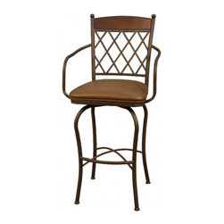 """American Heritage - American Heritage Havana 24 Inch Counter Height Stool in Ginger Spice - The lattice back and soft sweeping legs brings a lot of attention to the Havana stool. The ginger spice frame and nutmeg leather 3"""" swivel cushion will certainly make a statement in your beautiful home. What's included: Counter Height Stool (1)."""