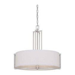 Nuvo - 4 Light - Pendant - Slate Gray Fabric Shade - Slate Gray Fabric Shade Shade. UL Dry Rated. Incandescent . Color/Finish: Brushed Nickel. Max wattage: 60w. Bulb(s) not included. 23.5 in. W x 22.875 in. H