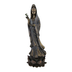 Bronzed Finish Standing Kuan Yin Statue Hand Painted Accents Quanyin - KuanYin is the bodhisattva associated with compassion as venerated by East Asian Buddhists, usually as a female. The name Kuanyin  means `Observing the Sounds  of the World`. This beautiful cold cast resin statue of Kuan Yin standing atop a lotus flower, holding a bottle in one hand and a willow twig in the other, has a beautiful metallic bronze finish. It is hand accented with colored enamels to bring out the fine detail. The statue measures 15 inches tall, 5 1/4  inches wide and 5 inches deep. It looks great in living rooms, offices, bedrooms, even in kitchens.
