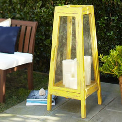 Oversize Yellow Lantern - Imagine a few of these canary yellow oversize lanterns scattered around your deck or pool — they would be stunning! Your friends will be asking you where you got them.