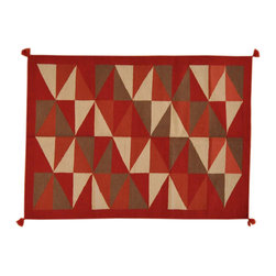Multicolored Hand Woven 5'X7' 100% Wool Reversible Navajo Design Area Rug SH1651 - Soumaks & Kilims are prominent Flat Woven Rugs.  Flat Woven Rugs are made by weaving wool onto a foundation of cotton warps on the loom.  The unique trait about these thin rugs is that they're reversible.  Pillows and Blankets can be made from Soumas & Kilims.