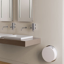 RS3 | VOLA A/S Waste Bin - Here's a super compact waste bin for the bathroom that cannot spare a square inch.