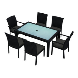Harmonia Living - Urbana 7 Piece Modern Outdoor Dining Set, Charcoal Cushions - There's nothing better than dinner al fresco unless you don't have attractive, functional outdoor furniture. This seven-piece set is both, with chairs of corrosion-resistant aluminum and resin wicker meant to withstand the elements. The table is made of frosted, tempered glass with a pre-cut hole so you can easily add an umbrella. The set includes one table, two armchairs and four armless chairs. The reinforced seat cushions come in five colors.