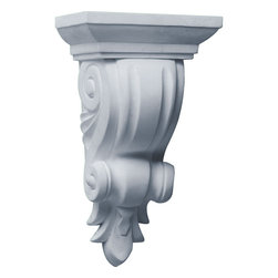 "Ekena Millwork - 4 3/8""W x 3 1/8""D x 7 7/8""H Reece Corbel - 4 3/8""W x 3 1/8""D x 7 7/8""H Reece Corbel. These corbels are truly unique in design and function. Primarily used in decorative applications urethane corbels can make a dramatic difference in kitchens, bathrooms, entryways, fireplace surrounds, and more. This material is also perfect for exterior applications. It will not rot or crack, and is impervious to insect manifestations. It comes to you factory primed and ready for your paint, faux finish, gel stain, marbleizing and more. With these corbels, you are only limited by your imagination."