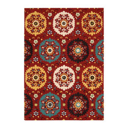 Nourison - Nourison Suzani Suz01 Red Area Rug - Give any room a touch of nature with a Nourison Suzani rug. This rug is a contemporary take on the traditional floral patterns. The patterns range from whimsical to distinctive plants and flowers. For example, you can pair this rug with a large planter to create an intriguing wilderness. You can even add the rug to a room with a Queen Anne chair to add a visual appeal into a space. Each of the Suzani area rugs are made with 100 percent hand tufted wool.