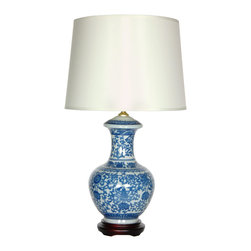 """Oriental Furniture - 24.5"""" Blue and White Porcelain Round Vase Lamp - Fine Chinese porcelain vase with a delightful Ming blue and white flower and vine art motif. Includes Rosewood stained lamp base and distinctive white drum lamp shade configured as shown. Ideal oriental accent perfect for both traditional and modern European and American decor. Top quality oriental lamp lighting at an affordable price."""