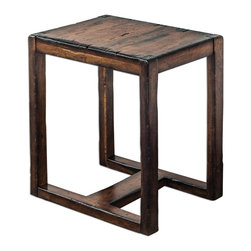 Uttermost - Uttermost Deni Wooden End Table 25604 - Light honey stain on solid mango wood, burnished with darkened edges and heavy distressing.
