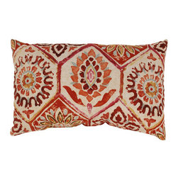 Pillow Perfect - Summer Breeze Rectangular Throw Pillow in Crimson - - 100% Cotton  - 100% Virgin Recycled Polyester Fill  - Sewn Seam Closure  - Spot Clean Only  - Made In USA Pillow Perfect - 472904