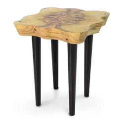Palecek - Olive Burl Side Table - Olive ash burl veneer top with metal legs finished in dark brown tone.