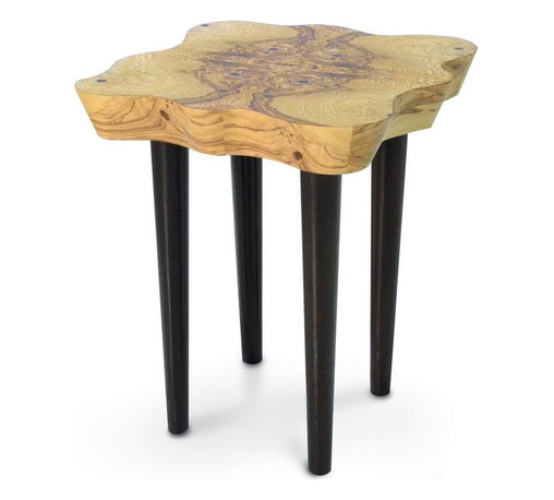 Palecek - Olive Burl Side Table - Olive ash burl veneer top with metal legs finished in dark brown tone.