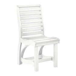 C.R. Plastic Products - C.R. Plastics St Tropez Dining Side Chair in White - Can be used for residential or commercial use, Ergonomically designed, Heavy 78 gauge plastic lumber 12 used by competitors, All stainless steel hardware, No painting, No slivers, No Rot, Completely waterproof