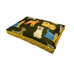 """Lava - Doggies 20 x 30 Pet Bed - Printed polyester and cotton cover. Zippered cover is best washed on gently cycle. Hang to dry. Insert filled with ecofriendly recycled fiber. Measures 20"""" x 30"""". Made in USA."""