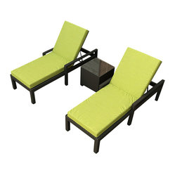 Barbados 3-Piece Modern Chaise Lounge Set, Kiwi Cushions