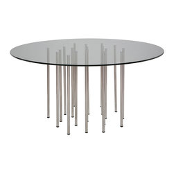 Nuevo Living - Sonnet Dining Table - Many feet make light work for this airy dining table that floats its round glass top on an ensemble of stainless steel legs. Staggered artfully beneath the center of the glass like a shower of silver, the slender legs look deceptively delicate, but add up to plenty of structural support. They also have a 30-inch adjustable height range, so you can use your sleek dining chairs or your long-legged bar stools.