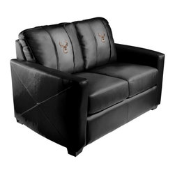 Dreamseat Inc. - Deer - Head Xcalibur Leather Loveseat - Check out this incredible Loveseat. It's the ultimate in modern styled home leather furniture, and it's one of the coolest things we've ever seen. This is unbelievably comfortable - once you're in it, you won't want to get up. Features a zip-in-zip-out logo panel embroidered with 70,000 stitches. Converts from a solid color to custom-logo furniture in seconds - perfect for a shared or multi-purpose room. Root for several teams? Simply swap the panels out when the seasons change. This is a true statement piece that is perfect for your Man Cave, Game Room, basement or garage.