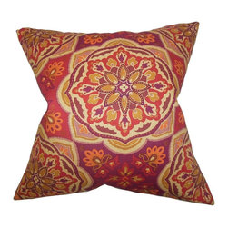 """The Pillow Collection - Luana Floral Pillow Purple 20"""" x 20"""" - Made of 100% soft cotton material, this throw pillow perfectly accents any of your furniture. With a bright floral pattern in shades of red, orange, purple and yellow, this toss pillow is a scene-stealing statement piece. Combine with solids and other patterns for a fun and unconventional decor style. Hidden zipper closure for easy cover removal.  Knife edge finish on all four sides.  Reversible pillow with the same fabric on the back side.  Spot cleaning suggested."""