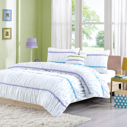 Mizone - Mizone Viviana Comforter Set - Viviana adds a fun feminine flair to your bedroom. This white comforter is ruched with bold purple, teal, and green stripes adding pops of color to this white comforter. The ruched detailing creates dimension and texture. A solid white covers the reverse. Made from a polyester microfiber for a soft touch and is machine washable for easy care. Comforter/sham: 100% polyester micro fiber solid with ruffle face, 100% polyester brushed fabric reverse, 200g polyester filling Pillow: polyester cover and polyester filling