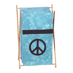 "Sweet Jojo Designs - Blue Peace Hamper - The Blue Peace Hamper by Sweet Jojo Designs will add a designers touch to any childs room. This childrens laundry clothes hamper has a wooden frame, mesh liner, and a fabric cover.The removable hamper body is secured to the wooden frame with corner loops and Velcro. The wooden stand folds flat for space-saving storage and the removable mesh liner is great for toting laundry.Dimensions: 15.5"" Length x 16"" Width x 26.5"" Height.If you like the Blue Peace Hamper Hamper, dont forget to check out the other items in the collection."
