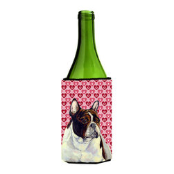 Caroline's Treasures - French Bulldog Hearts Love Valentine's Day Portrait Wine Bottle Koozie Hugger - French Bulldog Hearts Love and Valentine's Day Portrait Wine Bottle Koozie Hugger Fits 750 ml. wine or other beverage bottles. Fits 24 oz. cans or pint bottles. Great collapsible koozie for large cans of beer, Energy Drinks or large Iced Tea beverages. Great to keep track of your beverage and add a bit of flair to a gathering. Wash the hugger in your washing machine. Design will not come off.