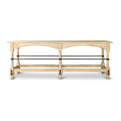 Kathy Kuo Home - Ducasse French Country Oak Wood Iron Buffet Console Table - Bring some style from the eighteenth century to your chic chateau with this unfinished oak and iron console table. Perfect in an entryway, behind a settee or anywhere you need panache, the dark, iron leg ties contrast with the light oak for an artistic accent to any abode.