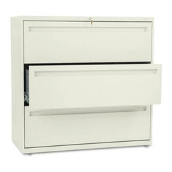 HON 700 Series 42 Inch Three Drawer Lateral File - The extra-wide HON 700 Series 42-Inch Three-Drawer Lateral File will keep your files and records organized and secure. Tall and wide, this file cabinet has three generously sized file drawers to hold your letter or legal folders.A lock at the top of the cabinet keeps your files secure, and the lock controls all openings. The mechanical interlock feature allows only one shelf or drawer to open at a time to prevent the file cabinet from tipping. Designed for intense daily use, this file cabinet has a three-part telescoping slide suspension, and leveling glides are adjustable for uneven floors. It is available in your choice of putty, black, light gray, or light charcoal finish. Delivered fully assembled. Dimensions: 42W x 19.25D x 40.875H inches.About the HON CompanyHeadquartered in Muscatine, Iowa, the HON Company is established as a leader in the office furniture industry. The HON Company designs and manufactures products including chairs, files, panel systems, tables, and desks. With several national manufacturing facilities, the company provides products through a system of dealers and retailers throughout the United States.As the landscape of today's office and classroom continues to change with new technologies, the HON Company has created office furniture, teacher stations, and student desks that anticipate and adapt to the newest waves of high-tech products. Additionally, in an effort to think and act green, the HON Company uses less packing material, reduces their amount of fabric waste, and uses recycled wood from other furniture.