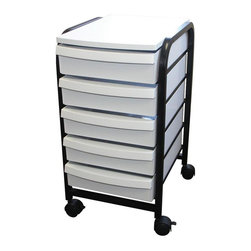 Alvin and Company - Metal Castered Organizer with Five Storage Dr - Equipped with 4 hooded casters, 2 of which are locking. Built with a strong black metal body frame, holding 5 rigid plastic drawers. Made from pressed wood with PVC laminate surface and edge trim. Reasonably priced mobile organizers that can simplify storage needs. Perfect for home, studio, office or shop use. No assembly required. Overall: 17.25 in. L x 13.75 in. W x 25.25 in. H (with casters). Drawers: 16 in. L x 11.5 in. W x 3.5 in. H