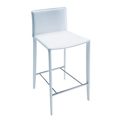 Bontempi Casa - Linda Counter Stool, White - Counter height stool fully covered in Italian hide leather over a steel frame. Made in Italy by Bontempi Casa.