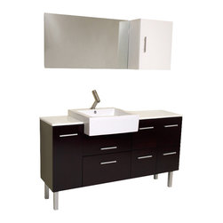Fresca - Fresca Serio Espresso Modern Bathroom Vanity w/Faucet and Large Countertop - This handsome middle of Midtown Manhattan showroom floor vanity completes any setting with an espresso finish and chrome hardware and a large ceramic white basin. This no nonsense ensemble is perfect for any location with room to spare. It has a super sleek look and feel and features a minimalistic brushed nickel faucet.