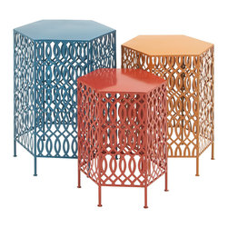 Bright and Beautiful Metal Table, Set of 3 - Description: