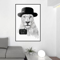My Wonderful Walls - Mr. White Breaking Bad Lion Wall Decal - Say My Name! by Balázs Solti, Small - - Product:  lion decal in fedora and glasses