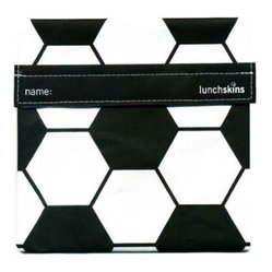 Lunch Skins - Lunchskins Sandwich Bag in Black Soccer - Score a goal for the environment with this reusable LunchSkins sandwich bag in soccer ball pattern. Featuring a velcro closure, this dishwasher-safe, hand-sewn and 100 percent non-toxic sandwich bag is sure to score big with your little soccer star.
