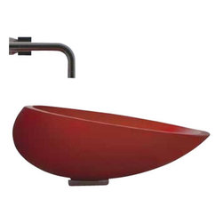 "ModoBath - KOOL TO34 Vessel Sink 17.1"" x 14.4"" - KOOL TO34, 17.1"" x 14.4"" x 5.7"", Vessel Sink in Red Mat Finish, Made of Vetro Freddo Material"