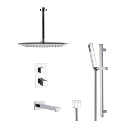 Remer - Modern Thermostatic Tub and Shower Faucet with Slide Rail - Thermostatic diverter.