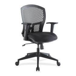 Lorell - Lorell Plastic Back Flex Chair - Black Seat - Plastic Black Back - Flex Chair features a soft plastic back that can curve freely when people recline to create a very comfortable lumbar and back support. Plastic back is vented for breathability. Height-adjustable arms have soft polyurethane pads for added comfort. Other functions include pneumatic seat-height adjustment, 360-degree swivel, tilt, tilt lock and tension. Five-star nylon base is equipped with casters for easy chair movement. Weight capacity is 250 lb.