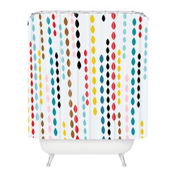 DENY Designs - Khristian A Howell Nolita Drops Shower Curtain - Shower yourself in style with this cool cascade. This woven polyester shower curtain, made in the USA, will brighten your bathroom, big time.