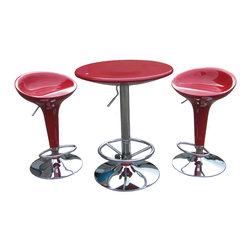Boraam - Boraam Luna 3 Piece Adjustable Pub Set in Red - 3 Piece Adjustable Pub Set in Red in the Luna Collection by Boraam This three piece Luna Pub Set will make you the trendiest person in your neighborhood. This futuristic set will add a splash of color into your home. Not only does this set offer you something different, it is extremely functional as well. with its airlift technology, this set is perfectly customizable to your needs. Available in red, black, and white this set will be the perfect addition to your home.