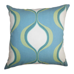 """The Pillow Collection - Odelia Geometric Pillow Blue Green 18"""" x 18"""" - Lend a carefree and fun vibe to your living space with this modern accent pillow. This square pillow highlights a geometric pattern in bright hues of blue, green and white. This 18"""" pillow is made of 100% soft and plush cotton fabric. Toss this decor pillow on top of your sofa, bed or chair to add a visually appealing detail. Hidden zipper closure for easy cover removal.  Knife edge finish on all four sides.  Reversible pillow with the same fabric on the back side.  Spot cleaning suggested."""