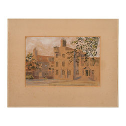 English Manor - Consigned Vintage Artwork - Watercolor  of an original English manor. Signed illegibly lower left. Displayed in a paper mat.