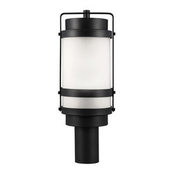 Sea Gull Lighting - Sea Gull Lighting 8222401-12 Bucktown 1 Light Post Lights & Accessories in Black - Bucktown One Light Outdoor Post Lantern in Black with Satin Etched Glass