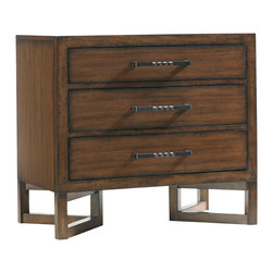 Lexington - Lexington 11 South Loft Nightstand 456-621 - The beveled framing of the three drawers with underlying triangular base presents an attractive bedside manner.