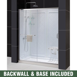 BathAuthority LLC dba Dreamline - Infinity-Z Frameless Sliding Shower Door, Single Threshold Shower Base - This kit combines the infinity-Z shower door, universal shower Backwall panels and a coordinating SlimLine shower base to completely transform a shower space. The infinity-Z sliding shower door is matched with a stationary glass panel to provide a wide bath entry. The stationary panel is fitted with a convenient towel bar that doubles as a handle. The SlimLine shower base incorporates a low profile design for a sleek modern look, while the shower Backwall panels have a tile pattern. This smart kit offers the perfect solution for a bathroom remodel or tub-to-shower conversion project.