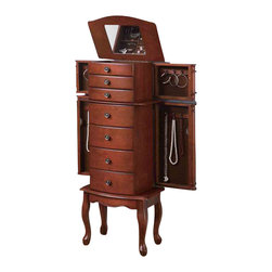 Adarn Inc - Warm Brown Jewelry Armoire Chest Antiqued Bronze Hardware Side Doors Drawers - Subtle elegance characterizes the simple lines and understated details of this jewelry armoire. Drawers and side doors feature a beautiful brown felt lining that coordinates with the warm brown finish on the exterior of the chest. The lining also helps keep mementos, heirlooms and more delicate pieces in top shape while safely tucked away. A lid with mirrored inside lifts up to expose additional compartments for keeping rings, bracelets, earrings and the like neatly in place. Antiqued bronze hardware marches up the front of the chest and lends it a slightly antiqued look you're sure to love.