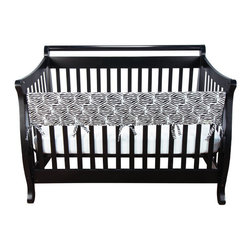 "Trend Lab - Cribwrap Wide Rail Cover - Long Black And White Zebra Percale - Protect your baby and protect your crib! Trend Lab's CribWrap Rail Cover for wide rails is the perfect solution for protecting your crib and teething baby. With a black and white cotton zebra print on the top, a light padding in the middle and a waterproof backing, you no longer have to worry about your baby ingesting wood or harmful toxins. Just wrap and tie on this simple solution to protect your crib rails from teeth marks and drool discoloration, and to preserve your crib investment for years to come. Long rail cover measures 51"" x 18"" with 6.5"" ties. Also available in 2 piece set for side rails. Fits crib rails measuring 8"" - 18"" around. CribWrap Rail Covers are PVC, lead and phthalate free."